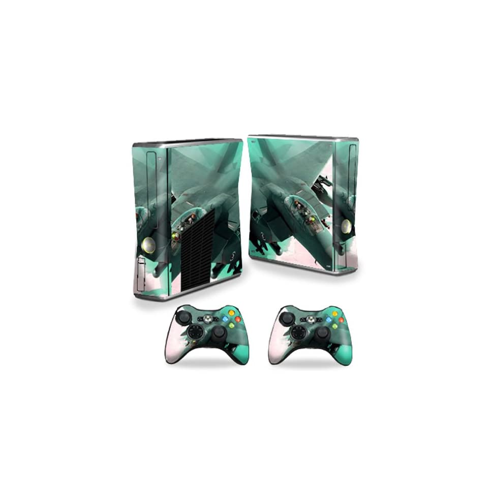 Mightyskins Protective Vinyl Skin Decal Cover for Microsoft Xbox 360 S Slim + 2 Controller skins wrap sticker skins Fighter Jet