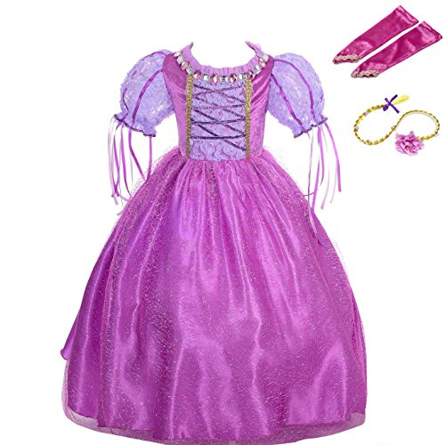 Lito Angels Girls' Tangled Rapunzel Dress Up Costume Halloween Fancy Princess Dress Outfit with Long Braid Wig + Arm Mitt Size 6X / 8