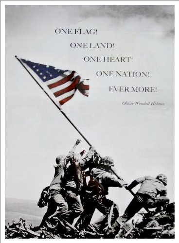 (Buyartforless Raising The Flag at Iwo Jima Photograph 22x16 with Quote by Oliver Wendell Holmes Art Print Poster Historic World War 2 Pacific Front)
