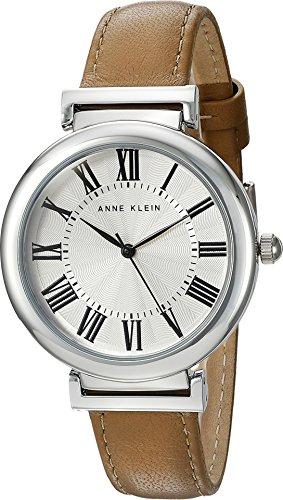 Anne Klein Women's AK/2137SVDT Silver-Tone and Dark Tan Leather Strap Watch