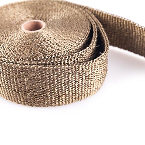 Pandure Titanium Exhaut Heat Wrap 2'' x 50' Exhaust Header Wrap kit with 20pcs Stainless Locking Ties (2'' x 50' Golden) by Pandure (Image #1)