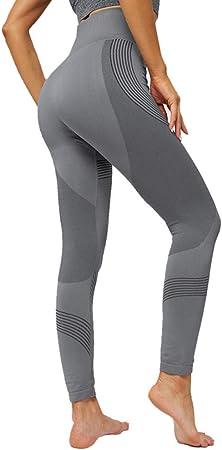 B/H Chándal de algodón elástico para Mujer,Pantalones de Yoga de Cintura Alta para Mujer con Bolsillos elásticos y Leggings sin Costuras-Gris_M: Amazon.es: Hogar