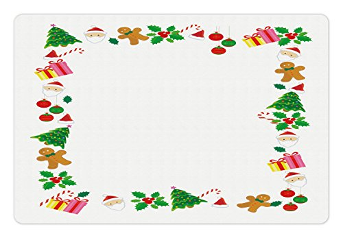 (Ambesonne Kids Christmas Pet Mat for Food and Water, Colorful Border with Different Clip Arts Holiday Festivity Santa Trees Balls, Rectangle Non-Slip Rubber Mat for Dogs and Cats, Multicolor)