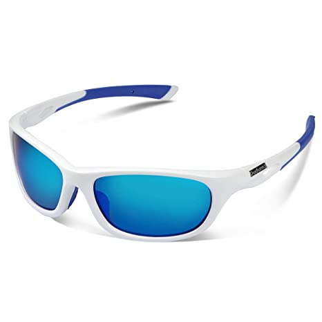 4c8a192a76 Duduma Polarized Sports Sunglasses for Men Women Baseball Running Cycling  Fishing Driving Golf Unbreakable Frame Du646(White Frame with Blue Lens)   ...