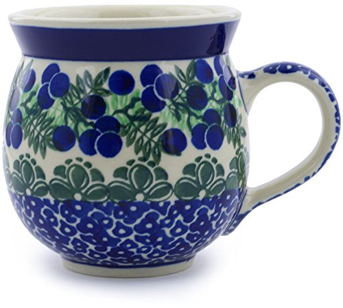 Polish Pottery 11 oz Bubble Mug made by Ceramika Artystyczna (Blueberry Fields Forever Theme) + Certificate of Authenticity