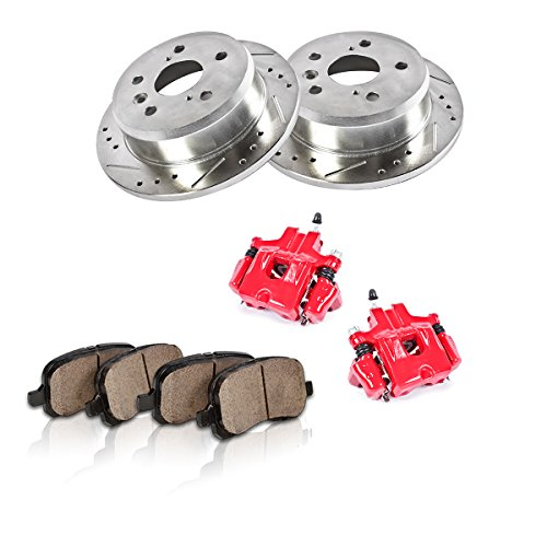 (REAR Powder Coated Red [2] Calipers + [2] 5 Lug Rotors + Quiet Low Dust [4] Ceramic Pads Performance Kit)