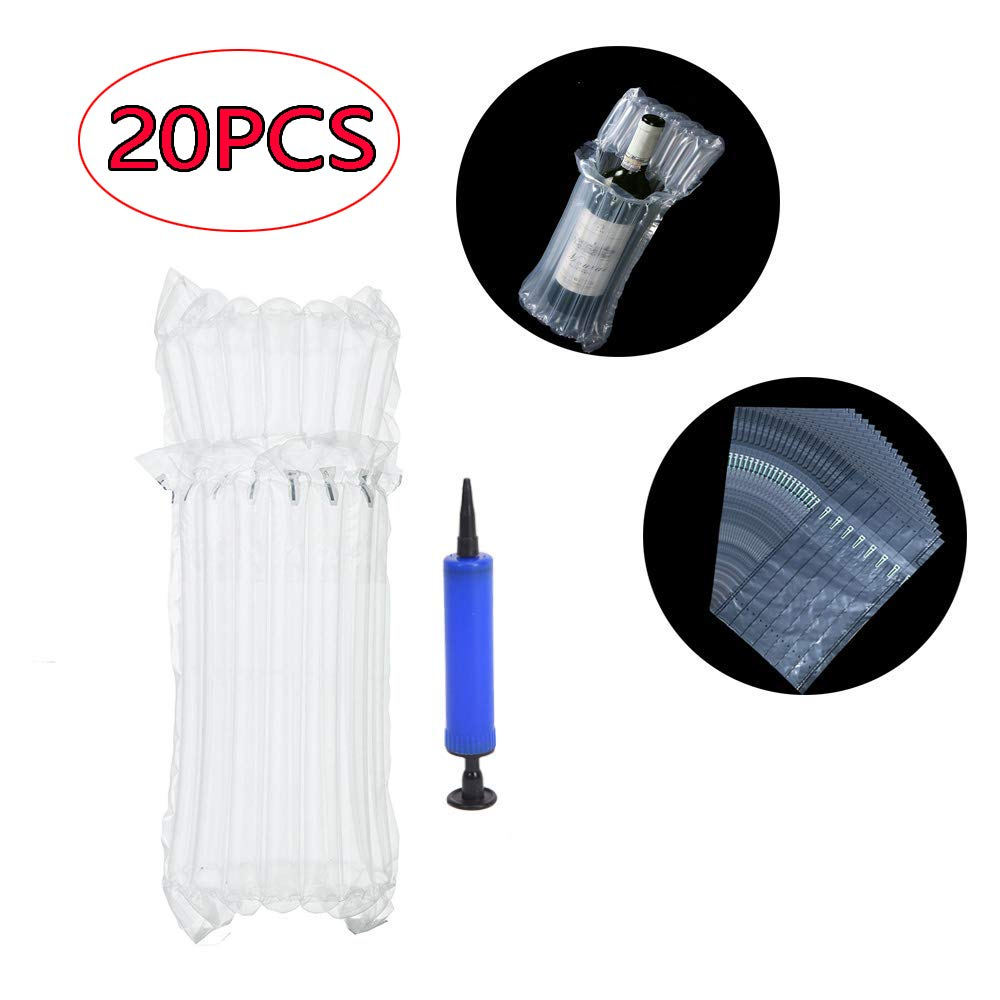 Bozoa Wine Bottle Protector/Inflatable air Column Cushion Bag with Pump Repeatable for Packing and Safe Transportation of Glass Bottles