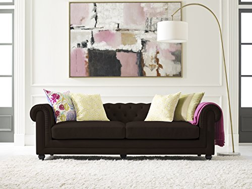 Elle Decor Amery Tufted Sofa, Bonded Leather, Brown (Dark Chesterfield Sofa Brown)