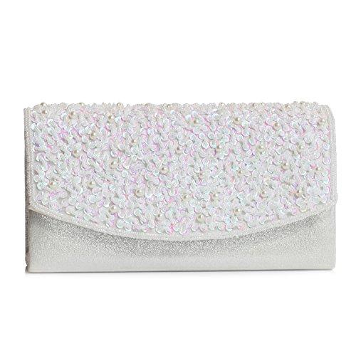 HMaking Womens Beads Evening Bag Retro Handmade Handbag(sliver)