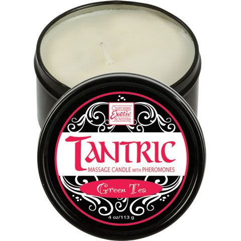 California Exotic Novelties Tantric Soy Massage Candle with Pheromones [Green Tea] : Size 4 Oz / 113 G