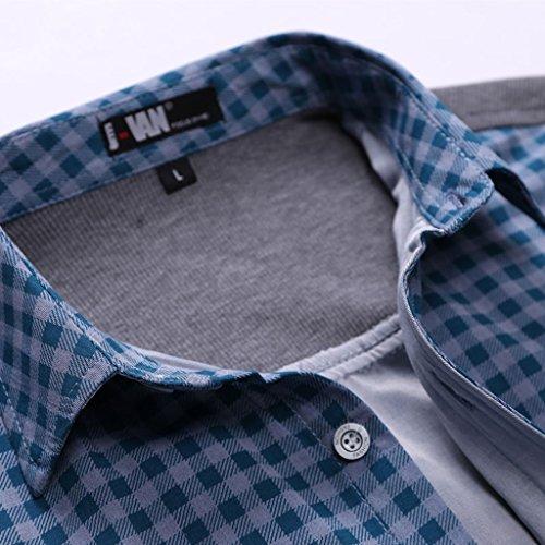 Herren Hemd Sommer Kurzarm Weich Bequem lässig Freizeithemd asiatisch XL (DE M) Blau