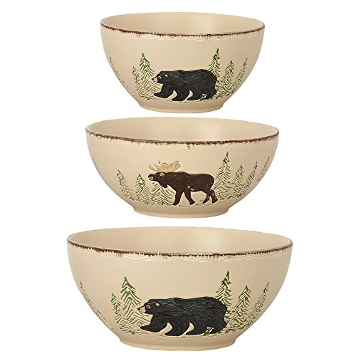 Park Designs Rustic Retreat Mixing Bowls (Set of 3), Multicolor - Bear Stoneware