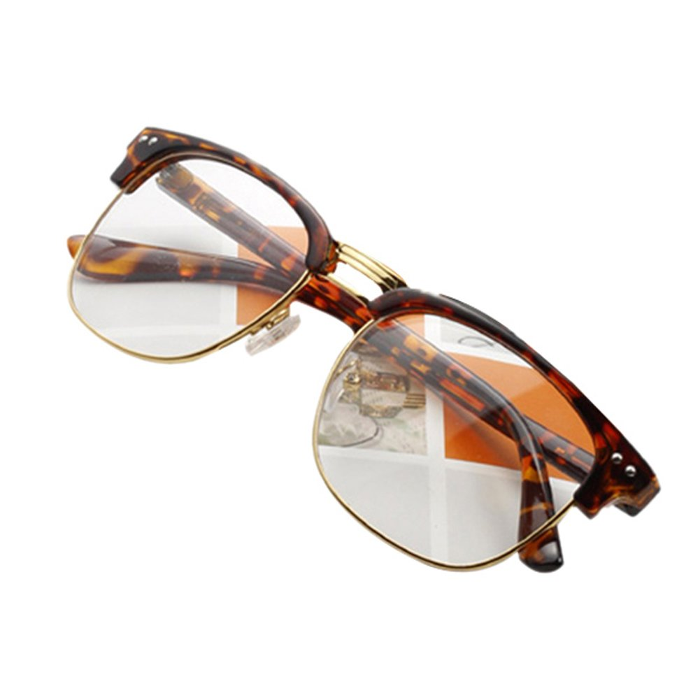 fd3ac3658bc Daxin Unisex Hipster Vintage Retro Classic Half Frame Glasses Clear Lens  Nerd Eyewear product image