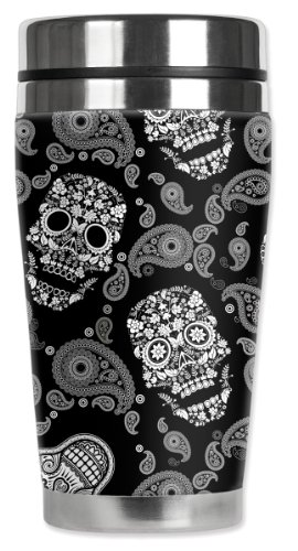 Mugzie White Sugar Skulls Travel Mug