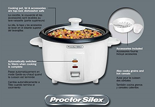 Proctor Silex (37534NR) Rice Cooker 4 Cups uncooked resulting in 8 Cups cooked, Mini, White by Proctor Silex (Image #5)