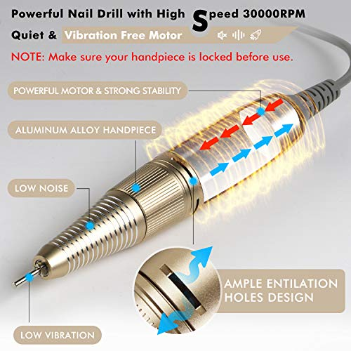 Nail Drill for Acrylic Nails - Professional Nail Drill Machine BTArtbox 30000 rpm Electric Efile Nail Drill for Gel… 2