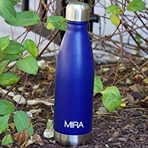 MIRA Stainless Steel Vacuum Insulated Water Bottle | Leak-proof Double Walled Cola Shape Bottle | Keeps Drinks Cold for 24 hours & Hot for 12 hours (Dark Blue, 25 oz (750 ml, 0.8 qt))