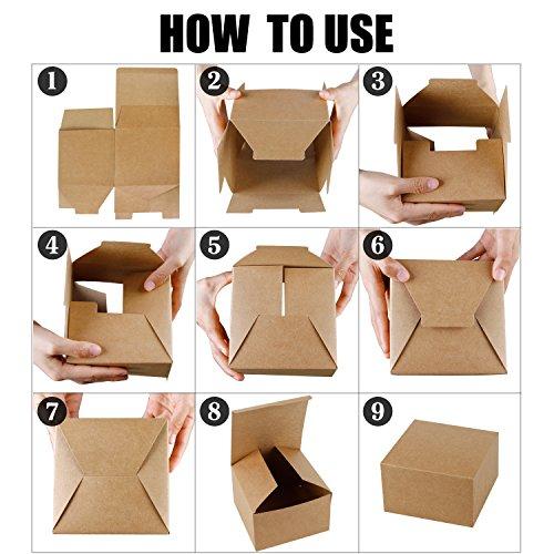RUSPEPA Cajas De Regalo De Cartón Reciclado De 15.5 X 15.5 X 10.5Cm Con Tapa, Paquete De 20 Cajas De Regalo A Granel (Kraft): Amazon.es: Hogar