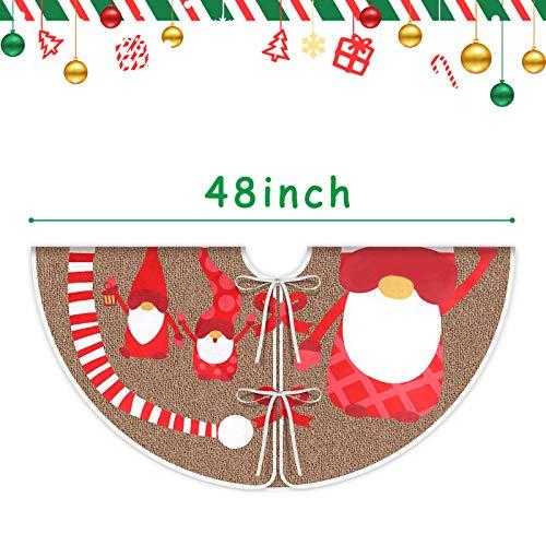 VGOODALL 48 Inches Burlap Christmas Tree Skirt Burlap Xmas Tree Wrap with Swedish Santa Gnome for Christmas Tree New Year Holiday Decoration
