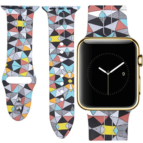 Allbingo Cute Bands for Apple Watch Band 38mm 42mm Women Men (Colorful Geometric, 38mm S/M)