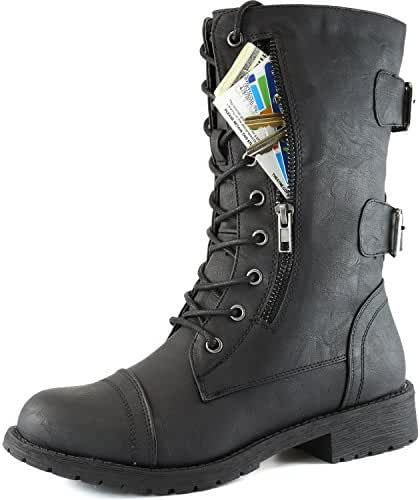 DailyShoes Women's Military Ankle Lace Up Buckle Combat Boots Mid Knee High Exclusive Credit Card Pocket Booties