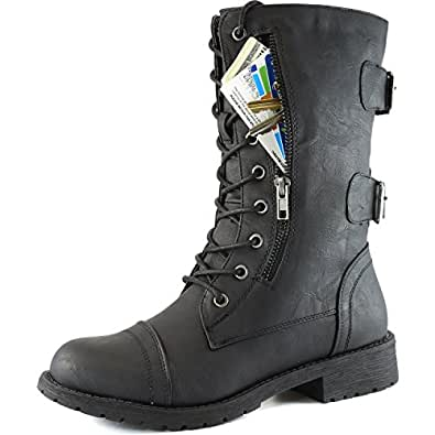 DailyShoes Women's Military Lace Up Buckle Combat Boots Mid Knee High Exclusive Credit Card Pocket, Twlight Black, 5 2A(N) US