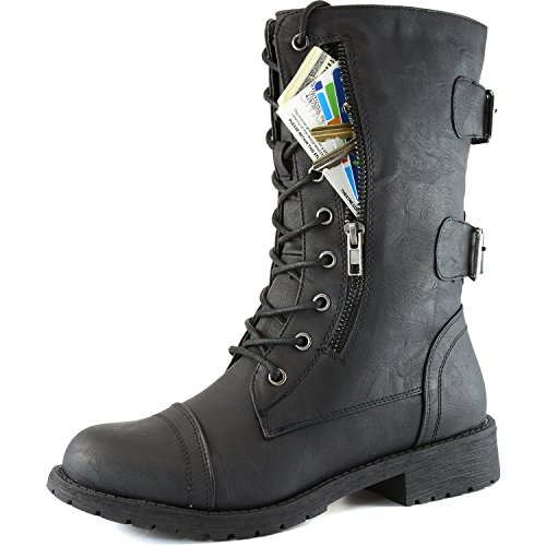 DailyShoes Women's Military Lace Up Buckle Combat Boots Mid Knee High Exclusive Credit Card Pocket, Twlight Black, 8.5 B(M)