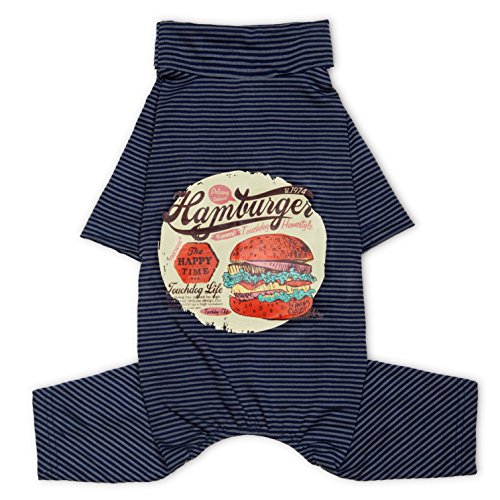 TOUCHDOG 'Cozy Jams' Breathable Printed Fashion Designer Long Sleeve Full Body Pet Dog Thermal Jumpsuit T-Shirt Pajamas, Medium, Navy