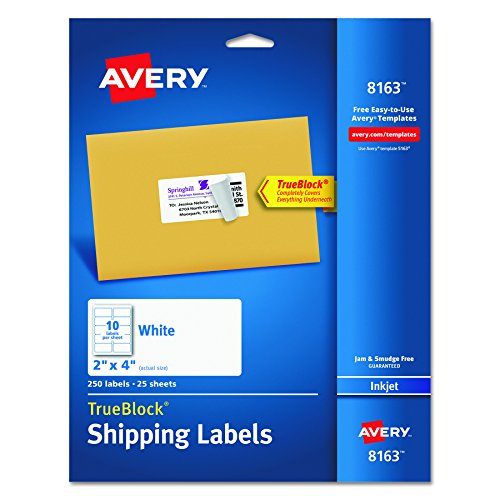Mailing Label Templates (Avery Shipping Labels with TrueBlock Technology, 2 x 4, White, 250/Pack, PK - AVE8163)