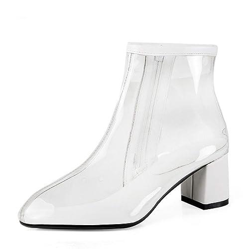 Botas de Tobillo para Las Mujeres de la Manera Atractiva más el tamaño de tacón Alto Punta Cuadrada de la Cremallera Lateral Bootie: Amazon.es: Zapatos y ...