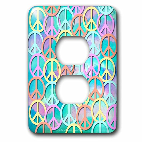 Lee Hiller Designs 60s Retro - Retro 60s Pastel Peace Signs on Blue Pink Watercolor - Light Switch Covers - 2 plug outlet cover (lsp_53214_6) - 60s Pastel