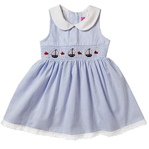 Good Lad Girls Dress - Good Lad Toddler & 4/6X Girls Seersucker Smocked Nautical Dress with Nautical Embroideries (6X, Blue)