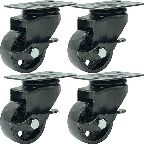 FactorDuty 4 All Black Metal Swivel Plate Caster Wheels w/Brake Lock Heavy Duty High-Gauge Steel (2