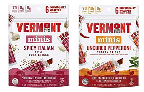 Vermont Smoke & Cure Minis 2 Flavor Sampler Bundle, (1) Each: Spicy Italian Pork, and Uncured Turkey Pepperoni - 6 Count