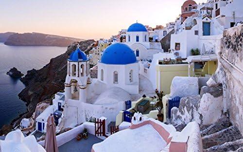 [해외]아이오와, 산토리니, 그리스, 바다, 집 캔버스 사진 포스터 인쇄 바다-(50cmx33cm) / Oia, Santorini, Greece, Sea, House Canvas Photography Poster Printing Sea - (50cmx33cm)