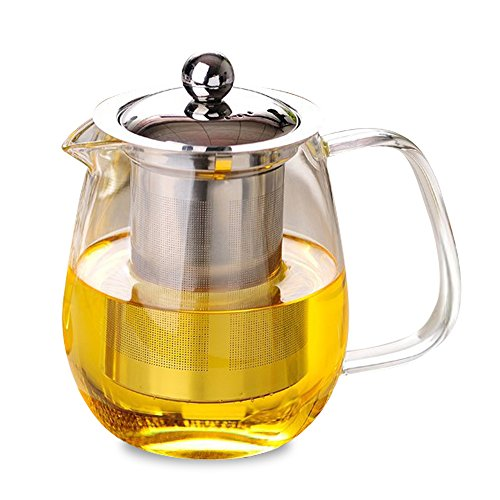 Green Teapot Lid (Green Tea Kettle Glass - Loose Leaf Tea Pot with Infuser and Lid - Teapot with Strainer - Teapot with Stainless Steel Infuser - No-Dripping - Tea Juice Water - Hot and Iced 650ml)