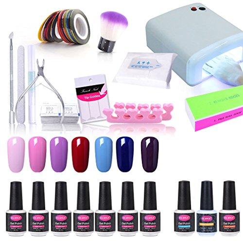 CLAVUZ 22pcs Gel Nail Polish Set Soak Off Nail Lacquer 36W UV Nail Lamp Top Coat and Base Coat New Starter Nail Art Gift Kit