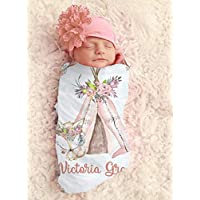 Baby Girl Fox in Tee Pee Personalized Baby Blanket Personalized Swaddle Blanket Baby Girl Receiving Blanket Monogram