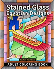 Stained Glass Egyptian Designs: Adult Coloring Book for Stress Relief and Relaxation