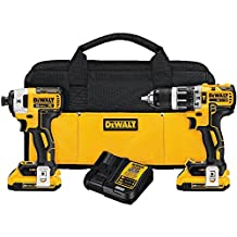 DEWALT DCK287D2 20V MAX XR Li-Ion 2.0Ah Brushless Compact Hammer Drill and Impact Driver Combo Kit