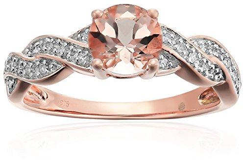 Rose Gold-plated Silver Morganite And Diamond Twisted Shank Engagement Ring (1/10 cttw, H-I Color, I1-I2 Clarity), Size 7 by Amazon Collection