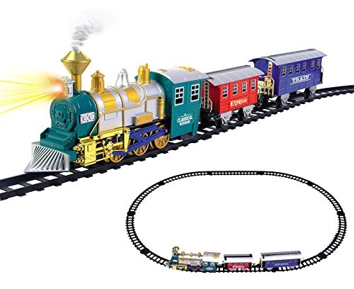 - Classic Train Set for Kids with Smoke, Realistic Sounds, 3 Cars and 11 Feet of Tracks (13 pcs) colors may vary