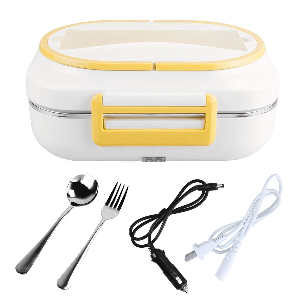 LOHOME Electric Heating Lunch Box Car Home Office Use Food Warmer Portable Bento Meal Heater with Stainless Steel Container 110V and 12V Dual Use (Yellow)