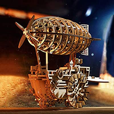 ROKR 3D Wooden Puzzle Mechanical Self-Assembly Moving Kit-Adult Craft Set-3d Laser Cutting-Brain Teaser Educational Toy-Best Gift for Boyfriend,Father, Friends(Air Vehicle): Toys & Games