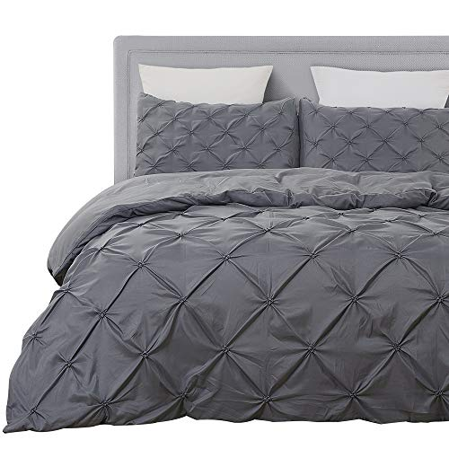 Vaulia Soft Microfiber Duvet Cover Sets, Grey-Tufted Pinch Pleated Pattern - Queen Size