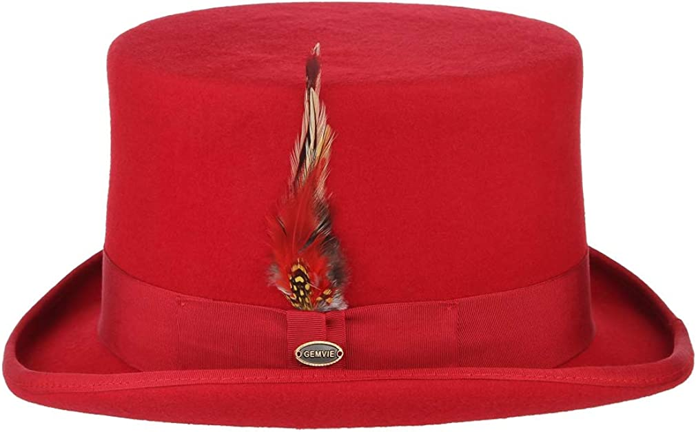 GEMVIE Men Vintage Feather Top Hat Classic Roll Up Bowler Hat Party Costume Accessory Red