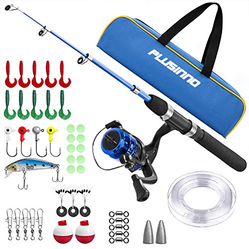 (PLUSINNO Kids Fishing Pole with Travel Bag, Telescopic Fishing Rod and Reel Combos with Spinning Fishing Reel Full Kits for Kids,Boys,Youth Fishing (Black Handle with Bag, 115CM 45.27IN) )