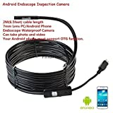 FindFine® 2M Endoscope Inspection Camera For Android OTG Smartphone 7mm Diameter Ultra Slim 6 LEDs HD IP67 Waterproof Snake Borescope Mini USB Inspection Camera 6.5FT