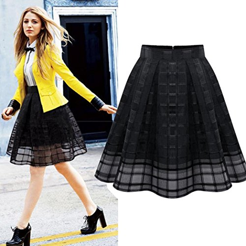 Skirts, Toraway Womens Fashion Women High Waist Organza Skirts Zipper Tulle Skirt (X-Large, Black)