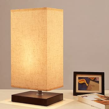 Bedside Table Lamp, Seealle Minimalist Solid Wood Table Lamp Bedside Desk  Lamp With Linen Fabric